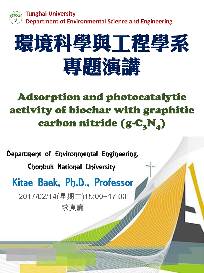 Adsorption and photocatalytic activity of biochar with graphitic carbon nitride (g-C3N4)