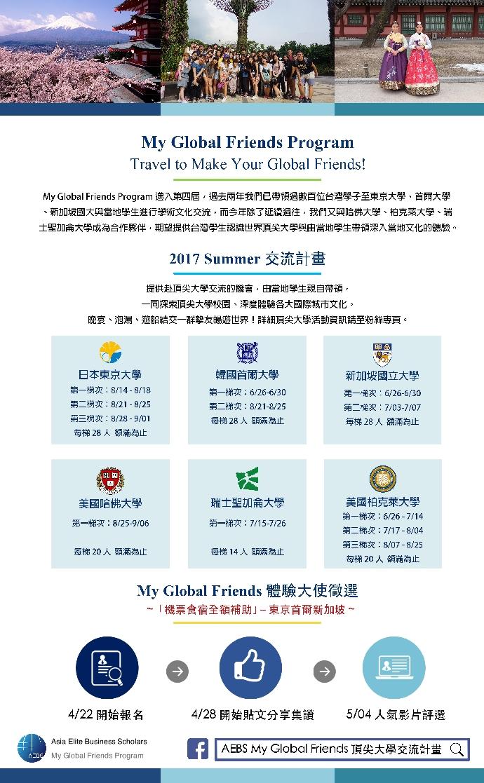 【My Global Friends體驗大使】甄選!機票、食宿全額補助!東京、首爾、新加坡頂尖大學交流!