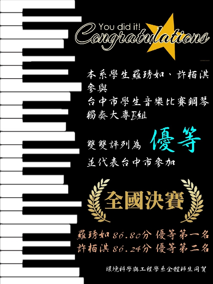 本系學生榮獲台中市音樂比賽優等