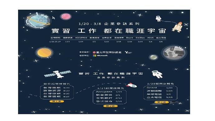 台北市勞動局「實習 工作 都在職涯宇宙—企業參訪系列活動」!(發佈日期2019-01-09)