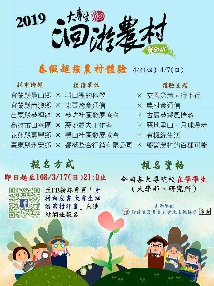 108年大專生洄游農STAY-春假住村體驗活動開跑!~(發佈日期2019-03-11)